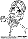Coloring page with Frankie Stein as she appear in the webisodes of the Monster High series when she start at Monster High. Frankie Stein is standing with her arms to the sides ready to welcome the new world. This Monster High coloring sheet is drawn by Loke Hansen: http://www.LokeHansen.com. It has been made available for free download and printing the blog coloring section. Frankie Stein from Monster High is a smart frankensteins monster themed humanoid female character, that is the daughter of Dr. Frankensteins monster and his bride.