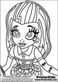 Coloring page with Frankie Stein as she appear in the webisodes of the Monster High series when she start at Monster High, the coloring print is made from the belt and up. Frankie Stein is standing with her arms to the sides ready to welcome the new world. This Monster High coloring sheet is drawn by Loke Hansen: http://www.LokeHansen.com. It has been made available for free download and printing the blog coloring section. Frankie Stein from Monster High is a smart frankensteins monster themed humanoid female character, that is the daughter of Dr. Frankensteins monster and his bride.