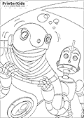 This Robots coloring page is available as a free printable colouring sheet and as an online coloring page. <br><br>You can print this Robots coloring page or download the coloring page PDF or image file for emailing or storing on your computer or mobile device. You can even save the robots coloring page to your iPad camera roll and use it with your favorite apps! <br><br>Print or color the colouring page via the large buttons shown next to the image. If you want to color the Robots page online - you can add unique gears, fire and even lightning to the robots coloring page!