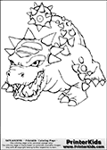 Coloring page with Bash from Skylanders. This printable colouring sheet show the dinosaur-like creature called Dash from the popular Skylanders universe. The Dash Skylander appear in many different games and stories related to Skylanders. Dash is a dinosaur-like creature that walk on four legs, it has a spakied body and a cruel looking spiked tail.