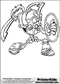 Coloring page with Chop Chop from Skylanders. This printable colouring sheet show the skeleton-like Skylander called Chop Chop. This skylander look like an undead warrior with a helm on the head, a shield in one hand and a sword raised to slash with in the other hand.