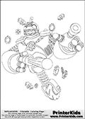 Coloring page with Bouncer from Skylanders. This printable colouring sheet show the robot-like technology skylander called Bouncer.