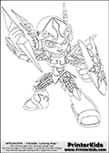 Coloring page with Chill from Skylanders. This colouring sheet to print show one of the Skylanders Giants additions called Chill. Chill is a water element skylander shown with a awesome elemental frosted weapon in one hand, and an icy shield in the other.