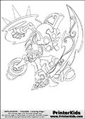 Coloring page with Chop Chop from Skylanders. This colouring sheet show the skeleton warrior styled Skylander in an attacking pose. Chop chop is show hitting with its sword while holding the shield in the back with the other hand.
