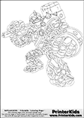 Coloring page with Crusher from Skylanders. This colouring sheet show the stone-like giant creature called Crusher from Skylanders standing with its massive hammer ready to attack.