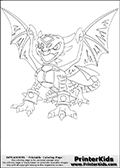Coloring page with Cynder from Skylanders. This colouring sheet show the female dragon (dragoness) called Cynder from Skylanders. Cynder is show with her wings spread out wide, and her mouth wide open.