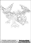 Coloring page with Drobot from Skylanders. This colouring sheet show the lizard or dinosaur styled technology sklander called Drobot. Drobot appear to be a mix between a lizard-like creature and a robot. Drobot is shown standing on all four legs with its mouth wide open on this coloring page. Drobots robotic features such as the razor-blade like features on its tail are fully visible and colorable