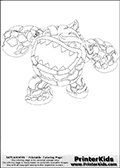 Coloring page with Eruptor from Skylanders. This colouring sheet show the newer Skylanders Giants variant of the popular fire element skylander called Eruptor. Eruptor is a lava-like creature that is shown with its massive mouth wide open on this coloring page.