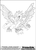 Coloring page with Flashwing from Skylanders. This coloring page show the gemstone dragon creature called Flashwing that was introduced in the Skylanders Giants part of the Skylanders universe. The coloring page show the amazing looking gemstone dragon - Flashwing - shown from the frontal side. Flashwings amazing gemstone wings can be seen spread to the sides, just as the amazing facial and leg features of the dragon can be seen and colored.