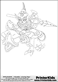 Coloring page with Fright Rider from Skylanders. This colouring sheet show one of the undead arrivals from the Skylanders Giants part of the Skylanders universe called Fright Rider. Fright Rider is an undead creature that is shown riding on what appear to be an undead skeleton-like dinosaur. Fright Rider has a spear in one of its hands.