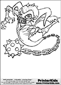 Coloring page with Ghost Roaster from Skylanders. This printable colouring sheet show the undead ghost-like skylander Ghost Roaster that look like a demonic ghost with a morning-star chained to its lower body.