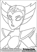 Coloring page with HEX as a grown up from the popular Skylanders Giants universe. This coloring print show the undead or death element Skylander from the chest and up, drawn as an adult female. Print and color this Skylanders Giants Hex page that is drawn by Loke Hansen (http://www.LokeHansen.com) based on the original artwork of http://xjkenny.deviantart.com. Skylanders Hex Storyline: Long ago, Hex was a gifted and powerful sorceress who traveled deep into the underworld to confront the Undead Dragon King named Malefor, who made several attempts to capture her to learn her secrets. Though she successfully battled the dragon, Hex returned from the underworld changed � having unwillingly joined the ranks of the Undead. Many are wary of her since her transformation, suspecting she has used her powerful magic for evil purposes. But Eon trusts her, and views her as a most valuable Skylander ally.