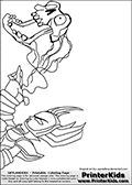 Coloring page with HEX using a magic ability from the popular Skylanders Giants universe. This coloring print show the undead or death element Skylander from the chest and up, drawn as an adult female using a dark ability with a skull. Print and color this Skylanders Giants Hex page that is drawn by Loke Hansen (http://www.LokeHansen.com) based on the original artwork of http://pandaface.deviantart.com. Skylanders Hex Storyline: Long ago, Hex was a gifted and powerful sorceress who traveled deep into the underworld to confront the Undead Dragon King named Malefor, who made several attempts to capture her to learn her secrets. Though she successfully battled the dragon, Hex returned from the underworld changed � having unwillingly joined the ranks of the Undead. Many are wary of her since her transformation, suspecting she has used her powerful magic for evil purposes. But Eon trusts her, and views her as a most valuable Skylander ally.