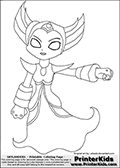 Coloring page with HEX from the popular Skylanders Giants universe standing with one arm out to the side. This coloring print show the undead or death element Skylander in full. Print and color this Skylanders Giants Hex page that is drawn by Loke Hansen (http://www.LokeHansen.com) based on the original artwork of http://pikaaly.deviantart.com. Skylanders Hex Storyline: Long ago, Hex was a gifted and powerful sorceress who traveled deep into the underworld to confront the Undead Dragon King named Malefor, who made several attempts to capture her to learn her secrets. Though she successfully battled the dragon, Hex returned from the underworld changed � having unwillingly joined the ranks of the Undead. Many are wary of her since her transformation, suspecting she has used her powerful magic for evil purposes. But Eon trusts her, and views her as a most valuable Skylander ally.