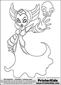 Coloring page with HEX from the popular Skylanders Giants universe standing in an amazing pose with her hand out to one side, with a skull floating aboe it. This coloring print show the undead or death element Skylander in full. Print and color this Skylanders Giants Hex page that is drawn by Loke Hansen (http://www.LokeHansen.com) based on the original artwork of http://i-heart-link.deviantart.com. Skylanders Hex Storyline: Long ago, Hex was a gifted and powerful sorceress who traveled deep into the underworld to confront the Undead Dragon King named Malefor, who made several attempts to capture her to learn her secrets. Though she successfully battled the dragon, Hex returned from the underworld changed � having unwillingly joined the ranks of the Undead. Many are wary of her since her transformation, suspecting she has used her powerful magic for evil purposes. But Eon trusts her, and views her as a most valuable Skylander ally.