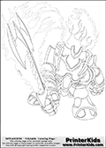 Coloring page with Ignitor from Skylanders. This printable colouring sheet show the flaming Ignitor character from Skylanders. Ignitor as it is represented here, appear like a full plate armor with flames comming out of it. Ignitor is shown striking with its massive fiery sword.