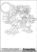 Coloring page with Jet Vac from Skylanders. This colouring sheet show the gun using bird-like creature called Jet Vac from Skylanders. Jet Vac is show standing with a firearm in one hand, ready to shoot something.