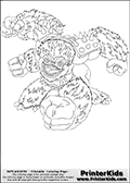 Coloring page with Slam Bam from Skylanders. This colouring sheet show the four-armed beast-like creature called Slam Bam from Skylanders. Slam Bam is shown with all four arms out to the sides, ready to deliver some.. slamming and bamming!