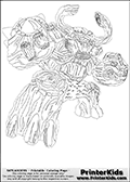 Coloring page with Tree Rex from Skylanders. Tree Rex that is shown on this colouring sheet is one of the new Skylanders Giants arrivals. Tree Rex is a nature element skylanders that appear more like a living battle tree than anything else.