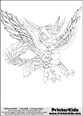 Coloring page with Whirlwind from Skylanders. Whirlwind that is shown on this printable coouring sheet is a cute unicorn-dragon hybrid creature from Skylanders. Whirlwind is a female dragon (dragoness) that belong to the air element.