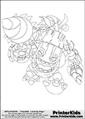 Coloring page with Zook from Skylanders. Zook is a nature element skylander creature that appear to be a living Bamboo plant that shoot with a bazooka like weapon.