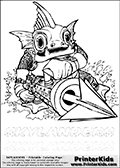 Coloring page with Gill Gunt from Skylanders. This Skylanders coloring page with Gill Gunt is designed with a Gill Gunt coloring figure on the top of the page, and two lines with letters below the character. SKYLANDERS is shown on both lines with letters that have dotted lines. The SKYLANDERS letters are blank inside so that the letters can be used for coloring or so they can be re-drawn with help from the dotted lines. The top line of letters is shown with a dark black dotted line, the other in a light gray color.