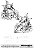 Coloring page with two Gill Gunt colorable characters from Skylanders. This Skylanders coloring page with Gill Gunt is designed with two smaller Gill Gunt coloring figures on the top of the page, and two lines with letters below the character. The Skylanders name - Gill Gunt - is shown on both lines with letters that have dotted lines. The Gill Gunt letters are blank inside so that the letters can be used for coloring or so that the actual letter can be drawn on top of the dotted lines. The top line is shown with a dark black dotted line and the bottom line of letters is shown in  light gray color so that is is harder to see.