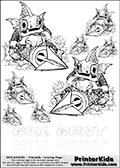 Coloring and activity page with no less than 8 x Gill Gunt colorable characters from Skylanders. This Skylanders coloring and activity page with Gill Gunt is designed with 8 Gill Gunt coloring figures - some tiny, some small and some medium sized on the top of the page, and two lines with letters below the character. The Skylanders name - Gill Gunt - is shown on both lines with letters that have dotted lines. The Gill Gunt letters are blank inside so that the letters can be used for coloring or so that the actual letter can be drawn on top of the dotted lines. The top line is shown with a dark black dotted line and the bottom line of letters is shown in  light gray color so that is is harder to see.