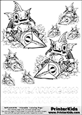 Coloring book sheet with 8 Gill Gunt colourable characters from Skylanders. This Skylanders coloring page with Gill Gunt is designed with 8 x Gill Gunt coloring figures in several sizes on the top of the page, and two lines with letters below the character. SKYLANDERS is shown on both lines with letters that have dotted lines. The SKYLANDERS letters are blank inside so that the letters can be used for coloring or so they can be re-drawn with help from the dotted lines. The top line of letters is shown with a dark black dotted line, the other in a light gray color.