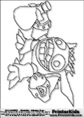 Coloring page with the cute, cozy and somewhat crazy looking Popfiz skylanders. This printable colouring sheet show the Popfiz skylanders character with a mysterious magic potion in its hand. Print and color this Skylanders Popfiz page that is drawn by Loke Hansen (http://www.LokeHansen.com) based on Skylanders Giants game screenshots, and made available for free download and printing. Skylanders Popfiz storyline: Nobody is quite sure who Pop Fizz was before he became an alchemist, least of all Pop Fizz himself. After many years of experimenting with magical potions, his appearance has changed quite significantly. In fact, no one even knows his original color. But its widely known that he is a little crazy, his experiments are reckless, and the accidents they cause are too numerous to measure.  Understandably, he has had a difficult time finding lab partners, or anyone that even wants to be near him. In hopes of making himself more appealing to others, he attempted to create the most effective charm potion ever - but that just turned him into a big, wild, berserker. Or maybe thats just how he saw the potion working in the first place...