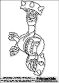 Coloring page with the Terrafin skylanders character. This printable colouring sheet show the Terrafin skylanders character ready to attack with a pair of knuckles. Print and color this Skylanders Terrafin page that is drawn by Loke Hansen (http://www.LokeHansen.com) based on Skylanders Giants game screenshots, and made available for free download and printing. Skylanders Terrafin storyline: Terrafin hails from The Dirt Seas, where it was common to swim, bathe, and even snorkel beneath the ground.  But a powerful explosion in the sky created a blast wave that turned the ocean of sand into a vast sheet of glass, putting an end to Terrafin�s duty as the local lifeguard. Not one to stay idle, the brawny dirt shark found himself training in the art of boxing, and not long after he was local champ. Fighters came from all around to challenge him, but it was a chance meeting with a great Portal Master that led him to give up his title for a greater purpose.