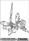Coloring page with the snow themed protector character Chill from skylanders. This printable colouring sheet show the Chill skylanders character throwing an impressive ice-like weapon. Print and color this Skylanders Chill page that is drawn by Loke Hansen (http://www.LokeHansen.com) based on Skylanders Giants game screenshots, and made available for free download and printing. Skylanders Chill storyline: Chill was the sworn guardian and personal protector of the Snow Queen. As captain of the queens guard, her many heroic deeds had earned her the respect of the entire Ice Kingdom.  But when the Cyclops army began to expand their empire into the northern realms, the Snow Queen was taken prisoner during her watch, and Chill has never forgiven herself for letting it happen. Ashamed and embarrassed, she left the Ice Kingdom behind and swore never to return until she could reclaim her honor. Now as a member of the Skylanders, she remains courageous and strong, while always on the lookout for her lost queen.