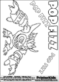 Coloring page with the crazy looking wild Popfiz skylanders character. This printable colouring sheet show the Popfiz skylanders character as it appear after having enjoyed a potion. Popfiz is shown transformed into a more wild beast looking skylander because of the magic potion powers. This Skylanders Popfoz printable coloring sheet is made with three colorable POPFIZ text areas. Color the Popfiz character name or practice the letter symbols by writing on top of the dashed and dotted letter lines. This Print and color this Skylanders Popfiz page that is drawn by Loke Hansen (http://www.LokeHansen.com) based on Skylanders Giants game screenshots, and made available for free download and printing. Skylanders Popfiz storyline: Nobody is quite sure who Pop Fizz was before he became an alchemist, least of all Pop Fizz himself. After many years of experimenting with magical potions, his appearance has changed quite significantly. In fact, no one even knows his original color. But its widely known that he is a little crazy, his experiments are reckless, and the accidents they cause are too numerous to measure.  Understandably, he has had a difficult time finding lab partners, or anyone that even wants to be near him. In hopes of making himself more appealing to others, he attempted to create the most effective charm potion ever - but that just turned him into a big, wild, berserker. Or maybe thats just how he saw the potion working in the first place...