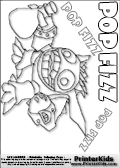 Coloring page with the cute, cozy and somewhat crazy looking Popfiz skylanders. This printable colouring sheet show the Popfiz skylanders character with a mysterious magic potion in its hand.  This Skylanders Popfoz printable coloring sheet is made with three colorable POPFIZ text areas. Color the Popfiz character name or practice the letter symbols by writing on top of the dashed and dotted letter lines. Print and color this Skylanders Popfiz page that is drawn by Loke Hansen (http://www.LokeHansen.com) based on Skylanders Giants game screenshots, and made available for free download and printing. Skylanders Popfiz storyline: Nobody is quite sure who Pop Fizz was before he became an alchemist, least of all Pop Fizz himself. After many years of experimenting with magical potions, his appearance has changed quite significantly. In fact, no one even knows his original color. But its widely known that he is a little crazy, his experiments are reckless, and the accidents they cause are too numerous to measure.  Understandably, he has had a difficult time finding lab partners, or anyone that even wants to be near him. In hopes of making himself more appealing to others, he attempted to create the most effective charm potion ever - but that just turned him into a big, wild, berserker. Or maybe thats just how he saw the potion working in the first place...