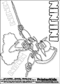 Coloring page with the mysterious and mighty Ninjini skylanders character. This printable colouring sheet show the Ninjini skylanders character performing one of its amazing attack moves. This Skylanders Ninjini printable coloring sheet is made with three colorable NINJINI text areas. Color the NINJINI character name or practice the letter symbols by writing on top of the dashed and dotted letter lines. Print and color this Skylanders Ninjini page that is drawn by Loke Hansen (http://www.LokeHansen.com) based on Skylanders Giants game screenshots, and made available for free download and printing. Skylanders Ninjini storyline: Ninjini was the most renowned magical ninja from ancient times, long before the Arkeyans ever rose to power. But a dark sorceress, who was jealous of Ninjinis skill as a warrior, trapped her within an enchanted bottle to be imprisoned for all of eternity. Time stretched on, yet Ninjini remained steadfast and determined to escape - even mastering the dual sword technique within the solitude of her bottle. Over the years, her strength continued to grow until alas, through sheer force of will, she broke free!  From that moment on, Ninjini made it her mission to help those in need as one of the first Skylanders, always carrying that enchanted bottle as a reminder of her own resilience.