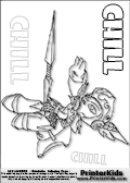 Coloring page with the snow themed protector character Chill from skylanders. This printable colouring sheet show the Chill skylanders character throwing an impressive ice-like weapon. This Skylanders Chill printable coloring sheet is made with three colorable CHILL text areas. Color the CHILL character name or practice the letter symbols by writing on top of the dashed and dotted letter lines.Print and color this Skylanders Chill page that is drawn by Loke Hansen (http://www.LokeHansen.com) based on Skylanders Giants game screenshots, and made available for free download and printing. Skylanders Chill storyline: Chill was the sworn guardian and personal protector of the Snow Queen. As captain of the queens guard, her many heroic deeds had earned her the respect of the entire Ice Kingdom.  But when the Cyclops army began to expand their empire into the northern realms, the Snow Queen was taken prisoner during her watch, and Chill has never forgiven herself for letting it happen. Ashamed and embarrassed, she left the Ice Kingdom behind and swore never to return until she could reclaim her honor. Now as a member of the Skylanders, she remains courageous and strong, while always on the lookout for her lost queen.