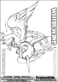 Coloring page with Whirlwind from skylanders. This printable colouring sheet show the amazing winged Whirlwind skylander in all its glory. This Skylanders Whirlwind printable coloring sheet is made with three colorable WHIRLWIND text areas. Color the WHIRLWIND character name or practice the letter symbols by writing on top of the dashed and dotted letter lines. Print and color this Skylanders Whirlwind page that is drawn the Skylanders artist I-Wei Huang (http://crabfuartworks.blogspot.com) and made available via the artist blog for free printing and download. The fantastic master sketch has been clipped, cut and cleaned by Loke Hansen (http://www.LokeHansen.com). Skylanders Whirlwind storyline: Whirlwind is an air dragon with unicorn ancestry � two species that could not be more opposite in nature, which made her never quite fit in with either group.  Other dragons were envious of her beauty, while unicorns shunned her for her ability to fly.  But Whirlwind found peace within the dark and stormy clouds, where she learned to harness the tempest power within her.  Despite her turbulent youth, she was the first to defend both dragons and unicorns when the trolls began hunting them, unleashing her ferocity in a brilliant and powerful rainbow that could be seen throughout many regions of Skylands.  From that day forward, evil-doers would quake when dark clouds brewed, and run from the rainbow that followed the storm.