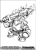 Coloring page with Ignitor from skylanders. This printable colouring sheet show the Knight in burning armor - Ignitor from skylanders with a mighty burning weapon. Print and color this Skylanders Ignitor page that is drawn the Skylanders artist I-Wei Huang (http://crabfuartworks.blogspot.com) and made available via the artist blog for free printing and download. The fantastic master sketch has been clipped, cut and cleaned by Loke Hansen (http://www.LokeHansen.com). Skylanders Ignitor storyline: On his first quest as a knight, Ignitor was tricked by a cunning witch into wearing a magical suit of armor that he was told would resist fire from a dragon.  But as it turned out, it was made of cursed steel.  He journeyed to a dragons lair where a single blast of fire transformed him into a blazing spirit, binding him to the suit of armor for eternity.  Despite this setback, Ignitor remains a spirited knight who is always fired up to protect Skylands from evil...and find the witch that tricked him.