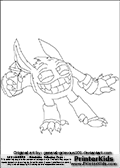 Coloring page with the crazy looking wild Pop Fizz skylanders character. This printable colouring sheet show the Pop Fizz skylanders standing clearly happy about the potion it is holding. Print and color this Skylanders Pop Fizz page that is drawn by Loke Hansen (http://www.LokeHansen.com) based on artwork by: http://general-grievous101.deviantart.com/. Skylanders Popfiz storyline: Nobody is quite sure who Pop Fizz was before he became an alchemist, least of all Pop Fizz himself. After many years of experimenting with magical potions, his appearance has changed quite significantly. In fact, no one even knows his original color. But its widely known that he is a little crazy, his experiments are reckless, and the accidents they cause are too numerous to measure.  Understandably, he has had a difficult time finding lab partners, or anyone that even wants to be near him. In hopes of making himself more appealing to others, he attempted to create the most effective charm potion ever - but that just turned him into a big, wild, berserker. Or maybe thats just how he saw the potion working in the first place...