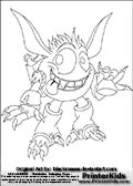 Coloring page with the crazy looking wild Pop Fizz skylanders character. This printable colouring sheet show the Pop Fizz skylanders happy with a potion in its one hand. Print and color this Skylanders Pop Fizz page that is drawn by Loke Hansen (http://www.LokeHansen.com) based on artwork by: http://blackrosses.deviantart.com/. Skylanders Popfiz storyline: Nobody is quite sure who Pop Fizz was before he became an alchemist, least of all Pop Fizz himself. After many years of experimenting with magical potions, his appearance has changed quite significantly. In fact, no one even knows his original color. But its widely known that he is a little crazy, his experiments are reckless, and the accidents they cause are too numerous to measure.  Understandably, he has had a difficult time finding lab partners, or anyone that even wants to be near him. In hopes of making himself more appealing to others, he attempted to create the most effective charm potion ever - but that just turned him into a big, wild, berserker. Or maybe thats just how he saw the potion working in the first place...