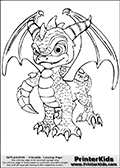 Coloring page with Spyro from Skylanders. This Skylanders coloring page with Spyro is designed with a Spyro coloring figure that take up almost the entire colouring sheet