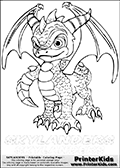 Coloring page with Spyro from Skylanders. This Skylanders coloring page with Spyro is designed with a Spyro coloring figure on the top of the page, and two lines with letters below the character. The Skylanders name - Spyro - is shown on both lines with letters that have dotted lines. The Spyro letters are blank inside so that the letters can be used for coloring or so that the actual letter can be drawn on top of the dotted lines. The top line is shown with a dark black dotted line and the bottom line of letters is shown in  light gray color so that is is harder to see.