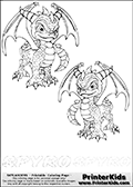 Coloring page with two Spyro colorable characters from Skylanders. This Skylanders coloring page with Spyro is designed with two smaller Spyro coloring figures on the top of the page, and two lines with letters below the character. The Skylanders name - Spyro - is shown on both lines with letters that have dotted lines. The Spyro letters are blank inside so that the letters can be used for coloring or so that the actual letter can be drawn on top of the dotted lines. The top line is shown with a dark black dotted line and the bottom line of letters is shown in  light gray color so that is is harder to see.