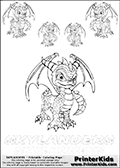 Coloring book sheet with 5 Spyro colourable characters from Skylanders. This Skylanders coloring page with Spyro is designed with 5 x Spyro coloring figures in several sizes on the top of the page, and two lines with letters below the character. SKYLANDERS is shown on both lines with letters that have dotted lines. The SKYLANDERS letters are blank inside so that the letters can be used for coloring or so they can be re-drawn with help from the dotted lines. The top line of letters is shown with a dark black dotted line, the other in a light gray color.