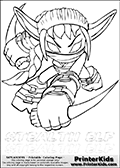Coloring page with Stealth Elf from Skylanders. This Skylanders coloring page with Stealth Elf is designed with a Stealth Elf coloring figure on the top of the page, and two lines with letters below the character. SKYLANDERS is shown on both lines with letters that have dotted lines. The SKYLANDERS letters are blank inside so that the letters can be used for coloring or so they can be re-drawn with help from the dotted lines. The top line of letters is shown with a dark black dotted line, the other in a light gray color.