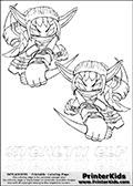 Coloring page with two Stealth Elf colorable characters from Skylanders. This Skylanders coloring page with Stealth Elf is designed with two smaller Stealth Elf coloring figures on the top of the page, and two lines with letters below the character. The Skylanders name - stealth-elf- is shown on both lines with letters that have dotted lines. The Stealth Elf letters are blank inside so that the letters can be used for coloring or so that the actual letter can be drawn on top of the dotted lines. The top line is shown with a dark black dotted line and the bottom line of letters is shown in  light gray color so that is is harder to see.