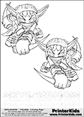 Coloring page with two Stealth Elf colourable characters from Skylanders. This Skylanders coloring page with Stealth Elf is designed with two smaller Stealth Elf coloring figures on the top of the page, and two lines with letters below the character. SKYLANDERS is shown on both lines with letters that have dotted lines. The SKYLANDERS letters are blank inside so that the letters can be used for coloring or so they can be re-drawn with help from the dotted lines. The top line of letters is shown with a dark black dotted line, the other in a light gray color.