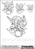 Coloring book sheet with 4 Stealth Elf colourable characters from Skylanders. This Skylanders coloring page with Stealth Elf is designed with 4 x Stealth Elf coloring figures in several sizes on the top of the page, and two lines with letters below the character. SKYLANDERS is shown on both lines with letters that have dotted lines. The SKYLANDERS letters are blank inside so that the letters can be used for coloring or so they can be re-drawn with help from the dotted lines. The top line of letters is shown with a dark black dotted line, the other in a light gray color.