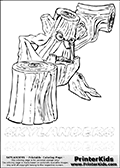 Coloring page with Stump Smash from Skylanders. This Skylanders coloring page with Stump Smash is designed with a Stump Smash coloring figure on the top of the page, and two lines with letters below the character. The Skylanders name - stealth-elf- is shown on both lines with letters that have dotted lines. The Stump Smash letters are blank inside so that the letters can be used for coloring or so that the actual letter can be drawn on top of the dotted lines. The top line is shown with a dark black dotted line and the bottom line of letters is shown in  light gray color so that is is harder to see.