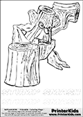 Coloring page with Stump Smash from Skylanders. This Skylanders coloring page with Stump Smash is designed with a Stump Smash coloring figure on the top of the page, and two lines with letters below the character. SKYLANDERS is shown on both lines with letters that have dotted lines. The SKYLANDERS letters are blank inside so that the letters can be used for coloring or so they can be re-drawn with help from the dotted lines. The top line of letters is shown with a dark black dotted line, the other in a light gray color.